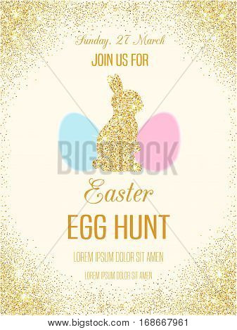 Easter egg hunt invitation flyer with golden glitter rabbit. Vector sparkling Easter card. Easter bunny shiny poster. Egg Hunt banner.