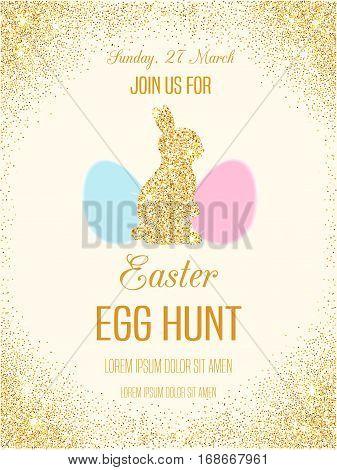 Easter egg hunt invitation flyer with golden glitter rabbit. Vector sparkling Easter card. Easter bunny shiny poster. Egg Hunt banner.