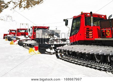 Snow groomers for ski slopes preaparation in winter resort
