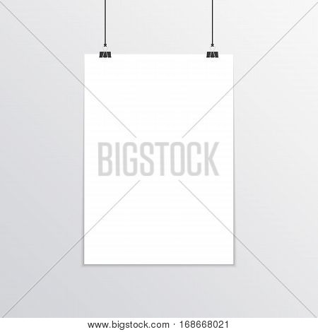Empty white A4 sized vector paper mockup hanging with paper clips. Realistic vertical poster mock-up isolated on gray background. Show your flyers, brochures, headlines etc. EPS10.