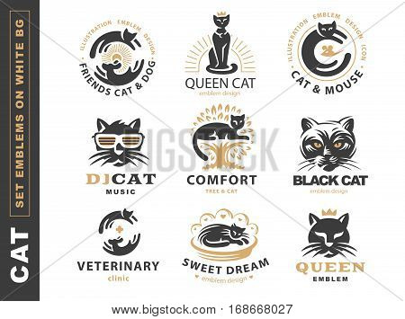 Set logo illustration with cat, emblem design on white background