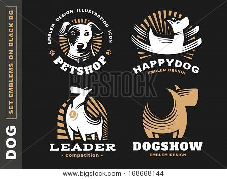 Set logo illustration dog, pet emblem design on black background