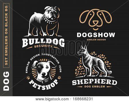 Set logo illustration dog, pet emblem design on black background