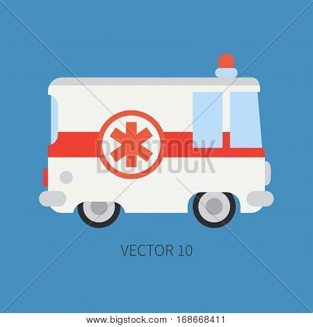 Plain flat plain vector icon ambulance car. Emergency assistance vehicle. Cartoon style. Reanimation. Maintenance. Paramedics. Medicine. Hospital. Rescue. Illustration and element for design Road
