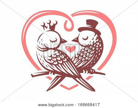 Birds love logo - vector illustration, emblem design on white background