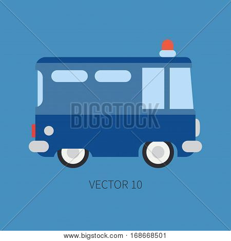 Plain flat vector color icon police truck. Special purpose assistance vehicle. Cartoon style. Maintenance. Rescue, security. Police department. Siren van. Law. Illustration and element for design.