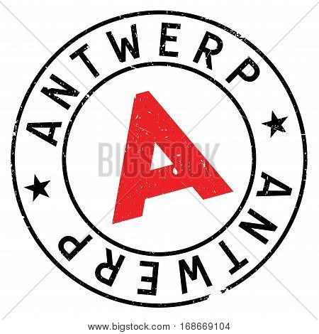 Antwerp stamp. Grunge design with dust scratches. Effects can be easily removed for a clean, crisp look. Color is easily changed.