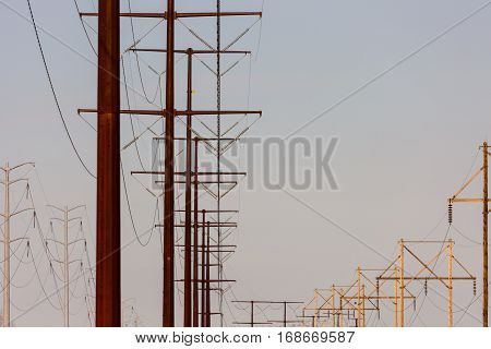 Variety of power lines supplying Wisconsin with electricity.