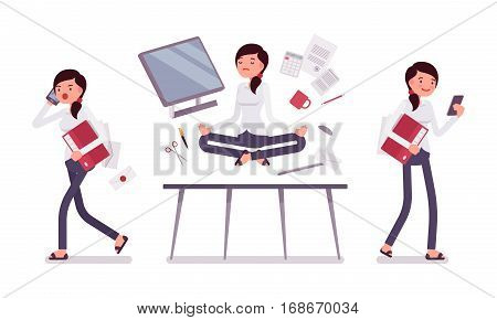 Office scene with female clerk, busy talking on phone and relaxed in yoga lotus pose, levitating over working desk with computer and office supplies, full length, isolated against white background