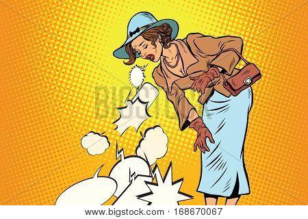 Beautiful retro woman vomiting review comic bubble. pop art illustration vector drawing