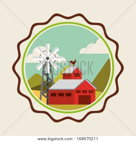 farm fresh stable icon vector illustration design