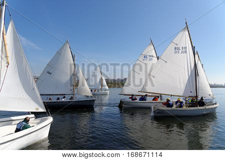 VARNA, BULGARIA - MARCH 03, 2014: Crew taking part in the national sailing boat race
