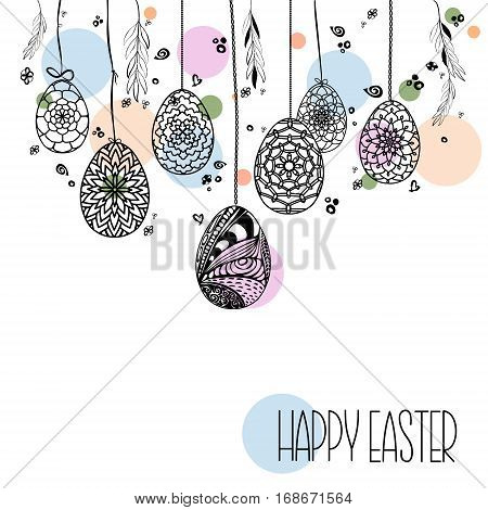 Decorative Card with Hanging Easter hand drawn ornamental eggs and floral elements on colored dots in pastel shades. Doodle style. Stock vector