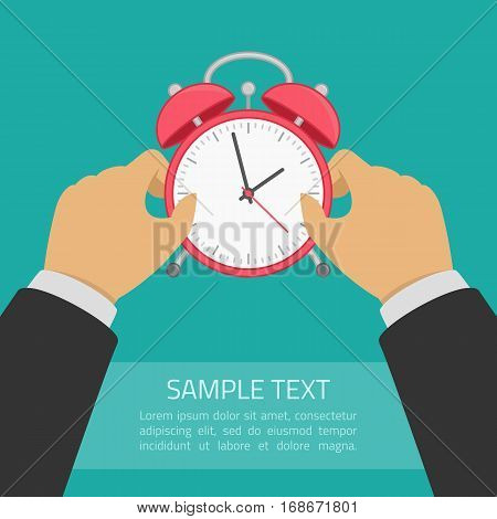 Red alarm clock in hand. Wake up poster with place for text. Planning and time control concept. Vector illustration in modern flat style. EPS10.