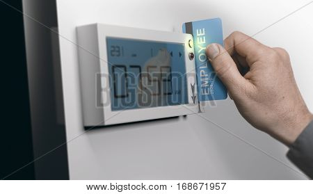 Employee swiping personal card in swipe-card system horizontal image. Concept of punctuality at work. Composite between an image and a 3D background