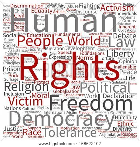 Vector concept or conceptual human rights political freedom or democracy square word cloud isolated on background  metaphor to humanity world tolerance, law principles, people justice discrimina