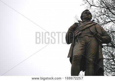 Statue of Robert Burns, Scotland's national poet, in Stirling