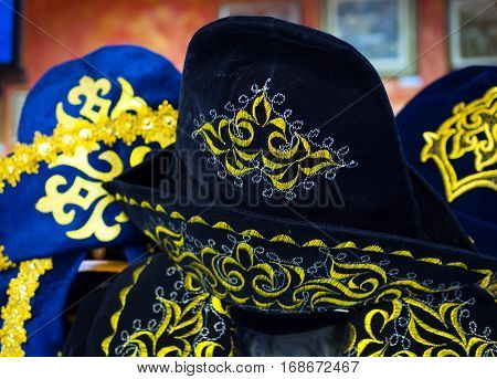 The old Kazakh national headdress with a traditional pattern