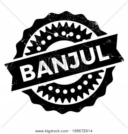 Banjul stamp. Grunge design with dust scratches. Effects can be easily removed for a clean, crisp look. Color is easily changed.