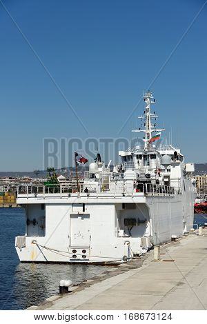 VARNA, BULGARIA - MARCH 30, 2014: The French Navy diving support ship A645 Alize at the Varna Passenger Terminal. Bulgarian and French military divers conducted a combined training in the Varna gulf.
