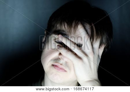 Stressed Man Holding Head Feeling Headache Portrait