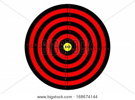 Target shooting in red and black colors