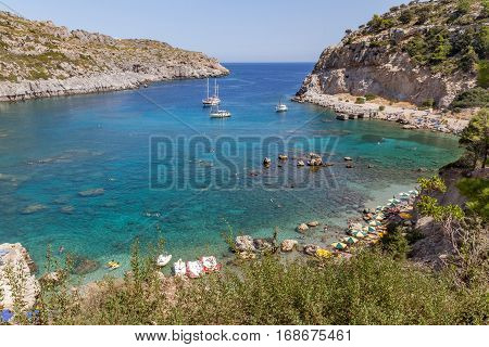 Area of Anthony Quinn Bay. Rhodos, Greece