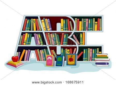 Illustration Featuring a Library Book Shelf Shaped Like The Letters ABC