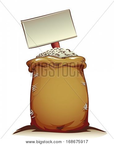 Illustration Featuring a Sackcloth of Rice with a Blank Board Listing its Price Buried in the Middle