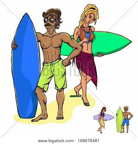 Two isolated from each other concept of surfers - a man and a woman. Black and white vector illustration isolated on white background.