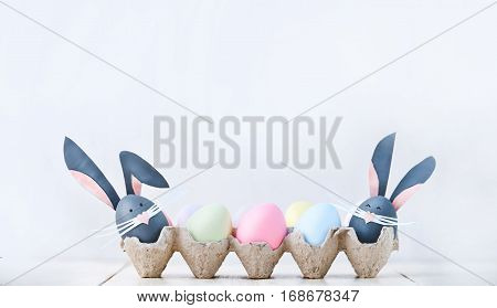 Cute Creative Photo With Easter Eggs, Some Eggs As The Easter Bunny