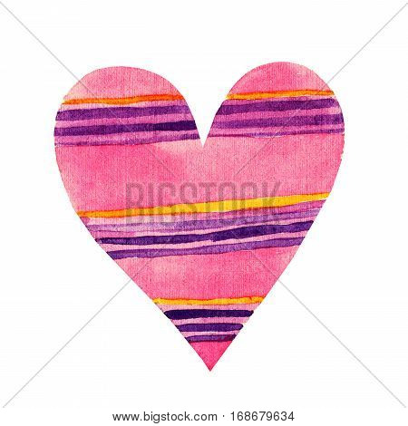 Lovely Cartoon Watercolor love heart valentines pattern. Colorful pink heart in violet striped illustrations isolated on white background. Perfect for valentines holiday. Good for love card valentine day congratulation design.