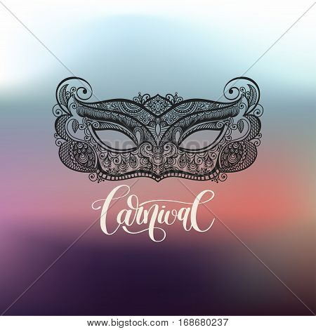 black lineart venetian carnival mask silhouette on blured background with leetering inscription, vector illustration