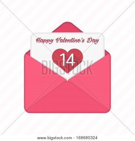 Valentine day romantic envelope with red heart. Valentines Day greeting letter, card or invitation concept. Love Letter, Envelope and Heart. Flat design. Vector illustration.