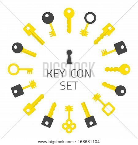 Key icon set. Gold keys signs isolated on white background. Set of different types house keys. Symbol of Security or Privacy Vector illustration. Modern and retro skeleton access.