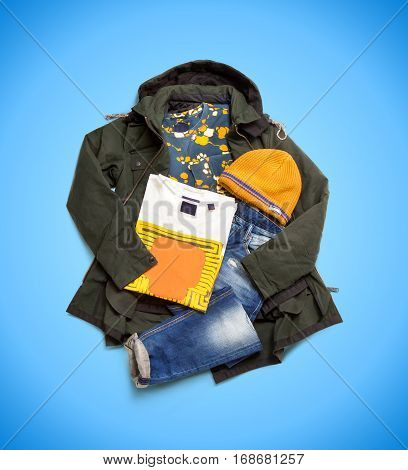 Set of jacket, jeans, sweatshirt, cap and T-shirt