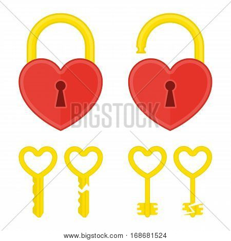 Lock heart and key flat icon. Open and closed red shiny heart locks shape with golden Key. Love, amour concept. Vector illustration in modern flat style.