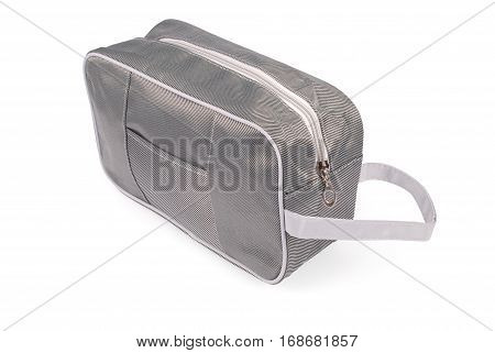 Blue cloth carpetbag isolated on white background with soft shadow (Clipping path)