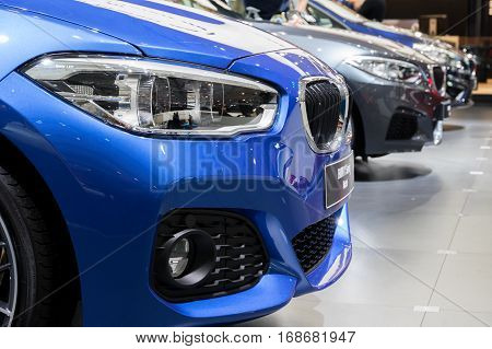 BRUSSELS - JAN 19 2017: Row of new BMW cars on display at the Motor Show Brussels.