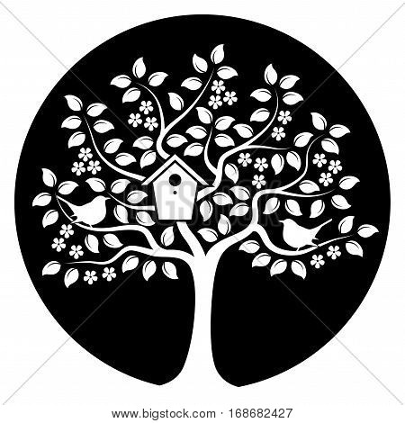 vector flowering tree with nesting bird box and couple of birds isolated on black round