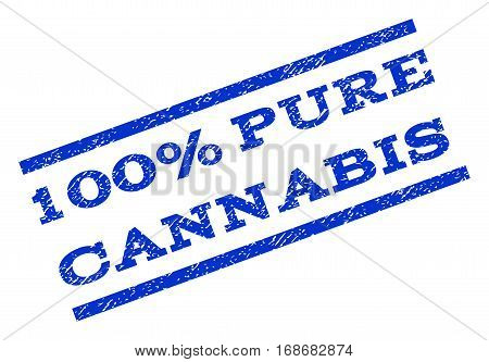 100 Percent Pure Cannabis watermark stamp. Text caption between parallel lines with grunge design style. Rotated rubber seal stamp with dust texture. Vector blue ink imprint on a white background.
