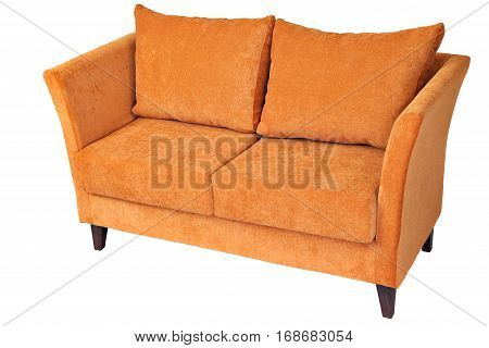 Two seater fabric couch with orange color isolated on white clipping path saved.
