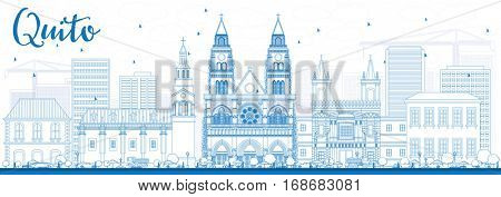 Outline Quito Skyline with Blue Buildings. Vector Illustration. Business Travel and Tourism Concept with Historic Architecture. Image for Presentation Banner Placard and Web Site.