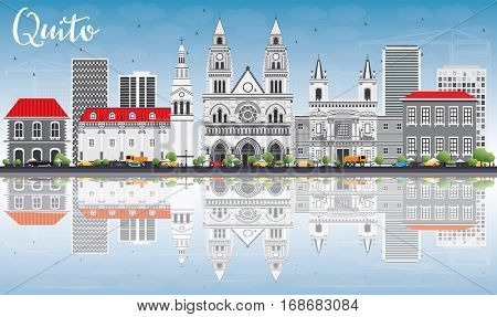 Quito Skyline with Gray Buildings, Blue Sky and Reflections. Vector Illustration. Business Travel and Tourism Concept with Historic Architecture. Image for Presentation Banner Placard and Web Site.
