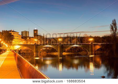 Beautiful bridge over Ebro river in the night , Logrono , La rioja from Spain