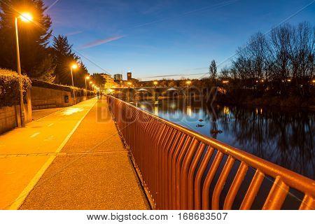 Bridge over Ebro river at sunset in Logrono , La Rioja region from Spain