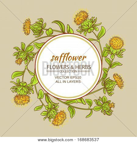 safflower plant vector frame on color background