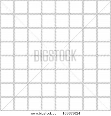Seamless rope mesh pattern. The grid cells of thick rope on white background. Marine fishing net Seamless template. Fabric, wallpaper, wrapping.