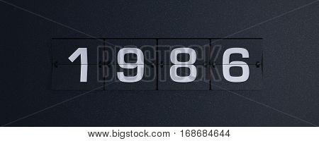 3d rendering flip board year 1986 background