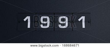 3d rendering flip board year 1991 background